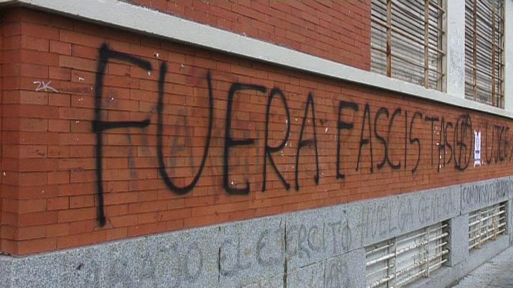 """""""Fascists out"""" - graffiti on University of Madrid wall"""